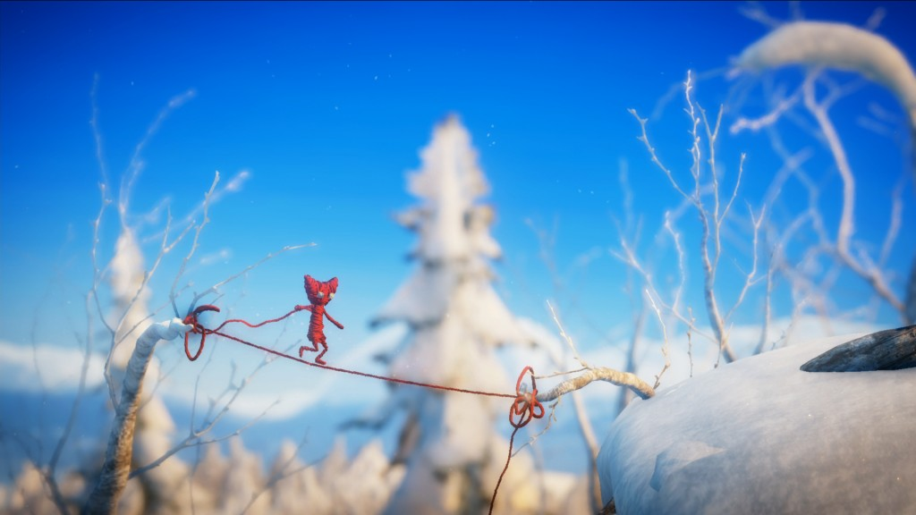 Yarny utilizes his own body to travel across the beautiful Swedish landscapes in Unravel.